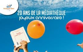 Affiche 20 ans médiathèque 40x602
