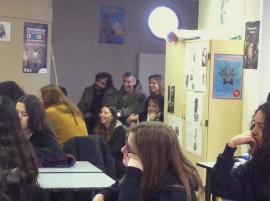L'équipe de la médiathèque et Sébastien de l'association se sont infiltrés dans les rangs de la classe !
